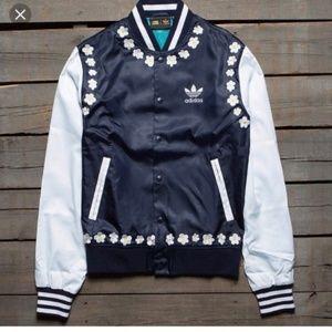 Adidas Pharrell Pink Beach Daisy Varsity jacket